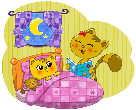 puss: Cute cat mother reading a bedtime story  Stock Photo