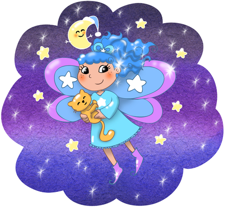 Fairy lady flying in a starry night  Stock Photo