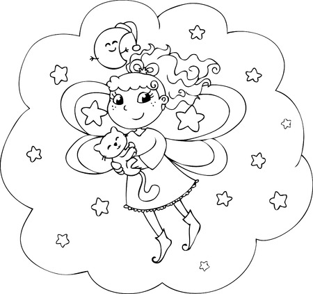 Cartoon coloring fairy-lady in the night sky Vector
