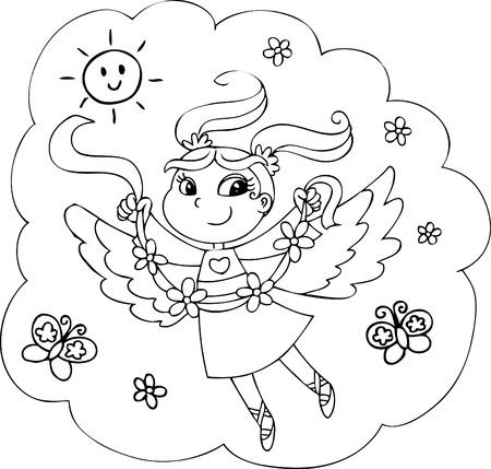 Cartoon coloring fairy-lady with flowers