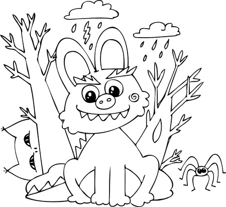 Coloring Halloween bunny-monster in a stormy night   Vector