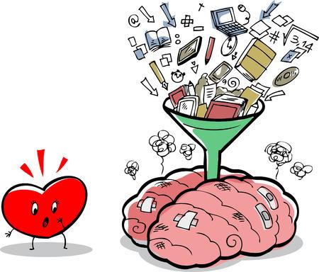 Messy brein vol ideeën en dingen, in de buurt van een verbaasd hart