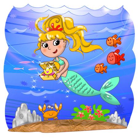 Cute mermaid with treasure box underwater  photo