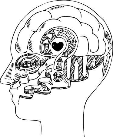 white matter: Man profile with brain and heart