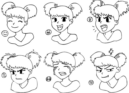 sad teenage girl: Six different expressions, black and white manga girl