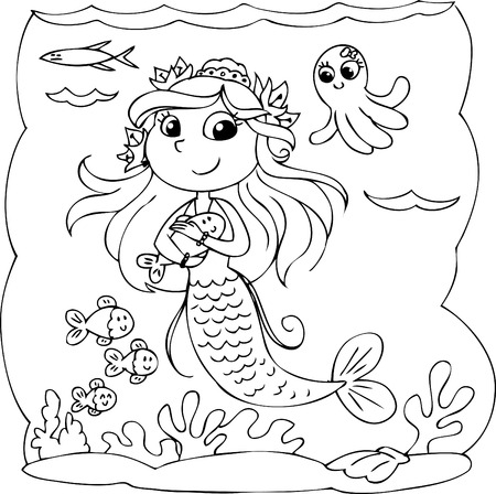 Coloring mermaid underwater with fishes