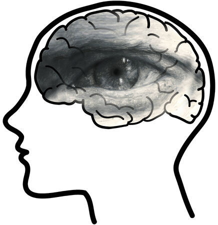 disturbing: Man profile with visible brain and grey eye