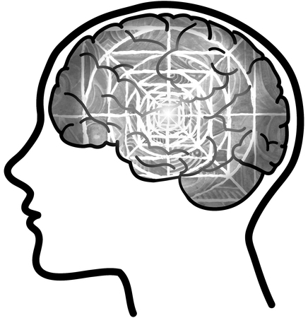 Human profile and grey visible brain with concentric circles photo