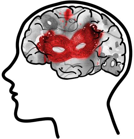 disturbing: Man profile with visible brain and red mask