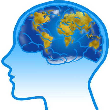planisphere: Profilo umano e il cervello visibile con planisfero mondo Archivio Fotografico