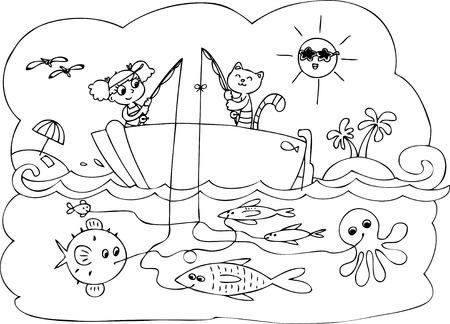 Joven Marinero En El Barco Rojo. Vector De Dibujos Animados Para Los ...