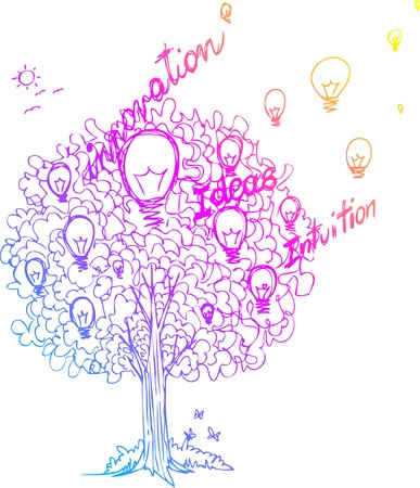 intuition: The tree of ideas decorated with light bulbs Illustration