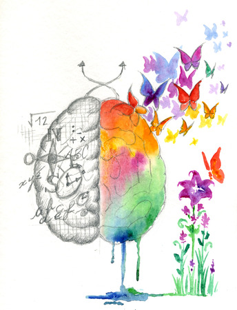 intuition: Brain hemispheres watercolored artwork