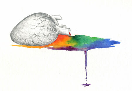 bleeding: Heart bleeding rainbow watercolor