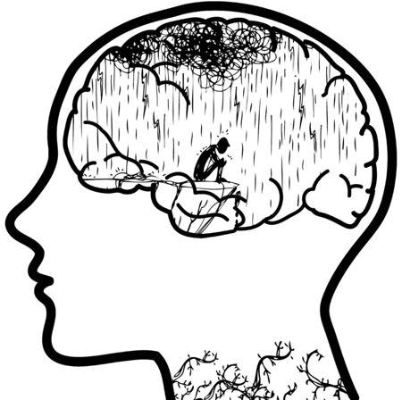uomo sotto la pioggia: Profilo con cervello visibile con un uomo triste sotto la pioggia.
