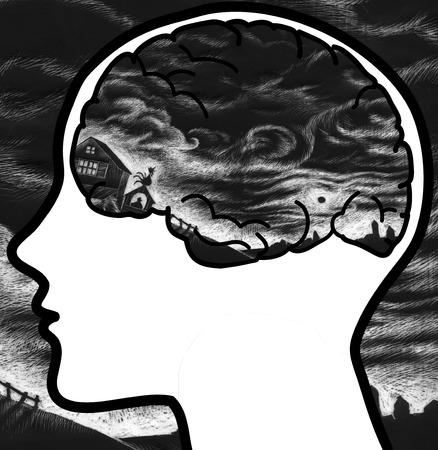 disturbing: Human profile with black clouds