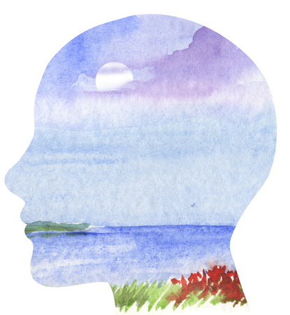 mindful: Human profile with sea landscape