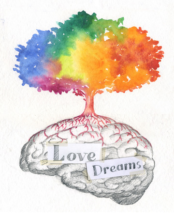 left hand: Illustration of tree on a brain full of love and dreams.