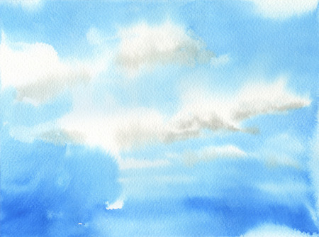 skylight: Hand made artwork of clear sky with white clouds.