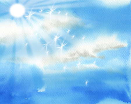 heaven background: Bright sky with sun and clouds illustration