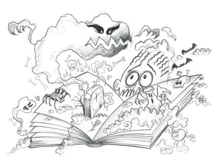 reader: Horror book and scared reader, pencil illustration Stock Photo