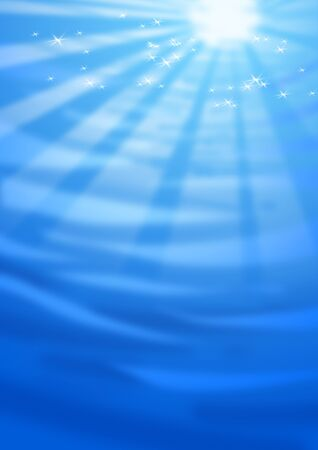 submerged: Digital illustration of water with sun and light effects. Stock Photo
