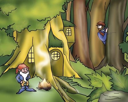 goblins: Rumpelstiltskin in his tree house Stock Photo