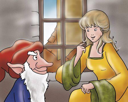 goblins: Rumpelstiltskin and the princess Stock Photo