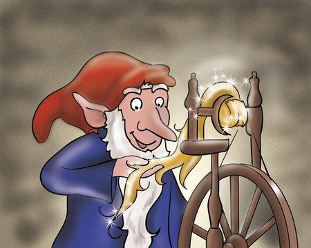 goblins: Rumpelstiltskin spinning with a magic spindle making gold