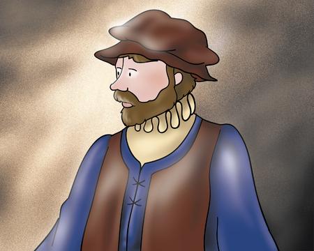 fellow: Medieval fellow from Rumpelstiltskin fairy tale Stock Photo