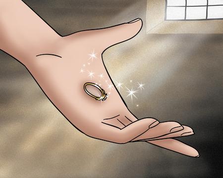 fables: Magic ring from Rumpelstiltskin folktale Stock Photo