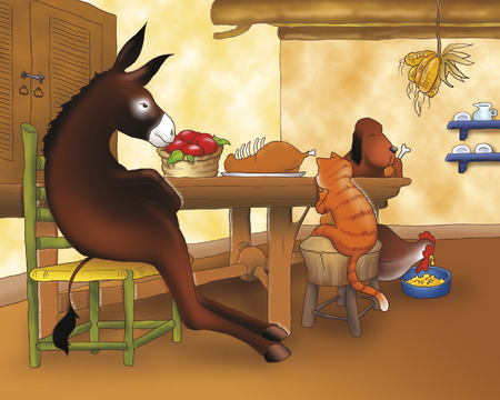 Bremen town musicians animals having dinner Stock Photo