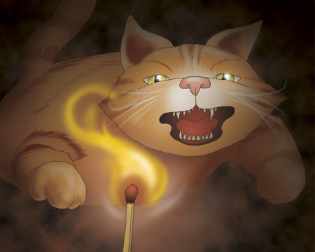 towns: Angry cat. Bremen town musicians folktale.