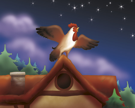 towns: Singing rooster from Bremen town musicians folktale