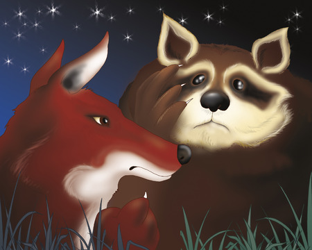 town: Fox and scared racoon. Bremen town musicians folktale illustration.