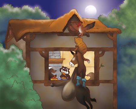 town: Illustration for Bremen town musicians folktale