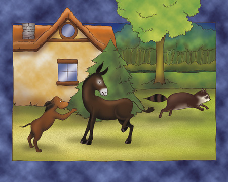 town: Animals fighting. Illustration for Bremen town musicians folktale
