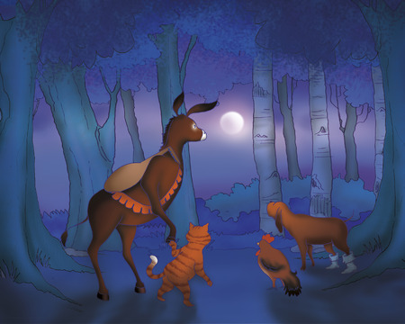 Bremen town musicians animals walking in the moonlight