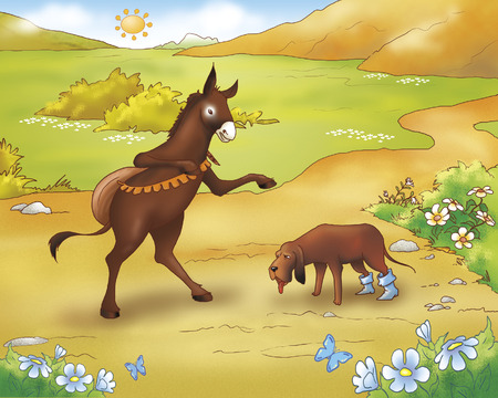 town: Donkey and tired dog from Bremen town musicians folktale