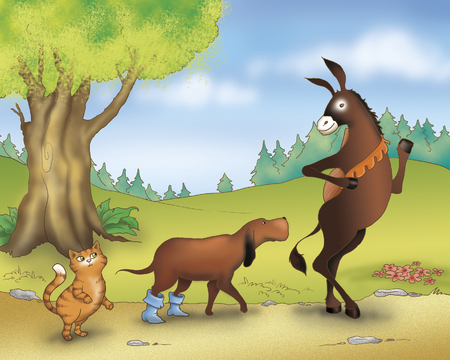town: Donkey dog and cat from Bremen town musicians folktale