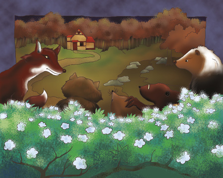 Animals by night from Bremen town musicians folktale