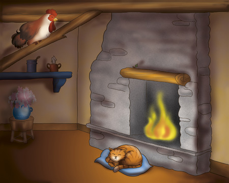 towns: Cat and rooster from Bremen town musicians folktale