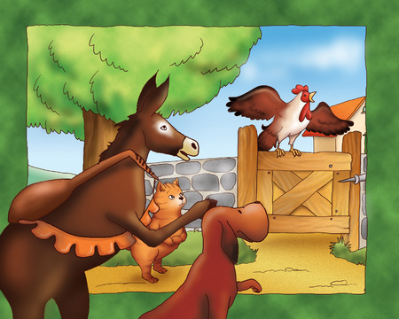 grimm: A donkey, a dog, a cat and a rooster: Bremen town musicians.