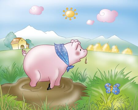 Cute pig. Illustration for Gingerbread boy folktale