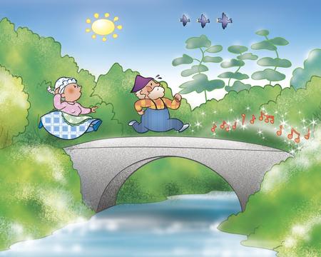 ginger bread man: People running on a bridge, illustration for Gingerbread boy folktale Stock Photo