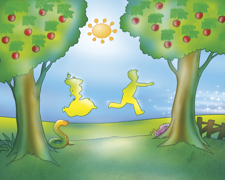 Illustration from Gingerbread boy folktale. People running in countryside Stock Photo