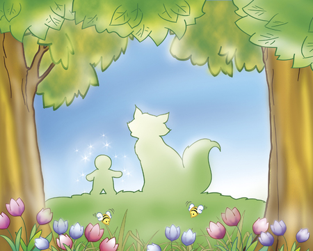 fables: Gingerbread boy and fox silhouettes