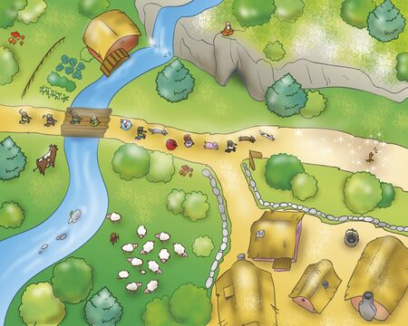 Country air view from Gingerbread boy folktale