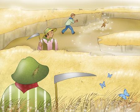 folktale: Gingerbread boy running away in wheat fields Stock Photo