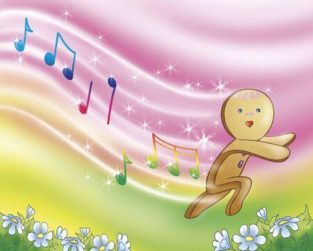 ginger bread man: Happy singing gingerbread boy Stock Photo